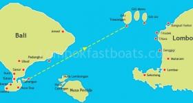 Bluewater Express Route Map Serangan to Gili Trawangan