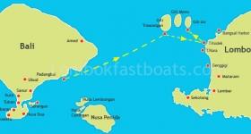 Bluewater Express Route Map Padangbai to Senggigi