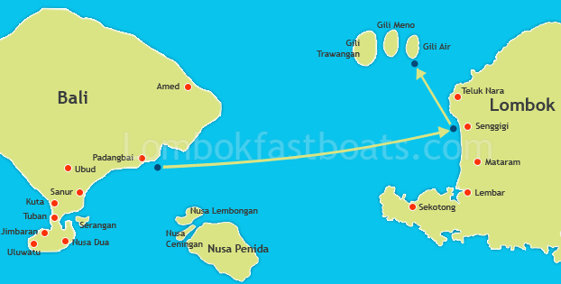 Bali to Gili Air Route Map