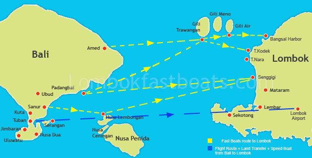 Transfer Route Bali to Lombok by Fast Boat or flight