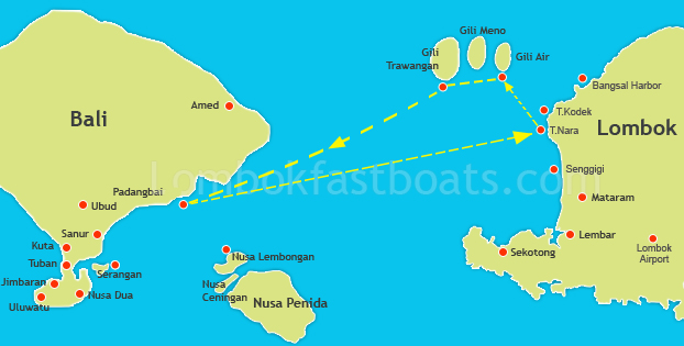 Gili Gili Fast Boat Route Map